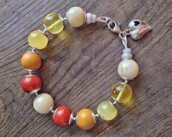 BALTIC AMBER and JASPER bracelet, statement bracelet, sterling silver bracelet, natural amber, red and yellow bracelet, orange bracelet