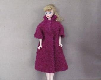 Vintage Barbie Clothes, 1960's Handmade Barbie Coat, Purple Barbie Coat, Boucle Coat, Vintage Barbie Coat