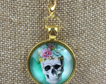 Planner Charm - Floral Vintage Skull Patterned Planner Jewelry, Accessories