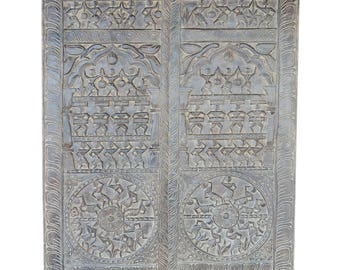 Tribal Vintage Hand Carved Sculpture Wall Hanging, Wall Sculpture, Panel Decor
