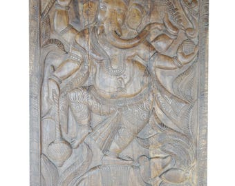 Vintage Altar Hand Carved Wood Wall Sculpture Ganesha Door Panel Natural Finish Grounding CHAKRA Zen Interior Design FREE Ship