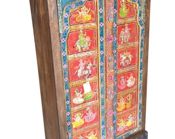 Antique Indian Armoire Hand painted Ganesha Bohemian Cabinet Wardrobe Unique Kind Painting Colorful Decor CLEARANCE SALE