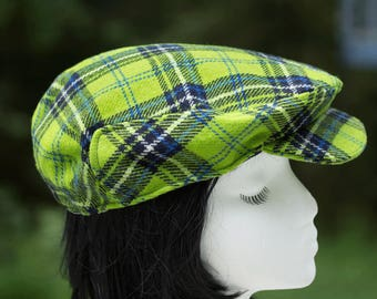 Green Tartan Plaid Flat Cap | Scottish Drivers Cap Green Plaid Wool | Winter Driving Cap | Ivy Touring Cap Clan Tartan | Scottish Golf Hat