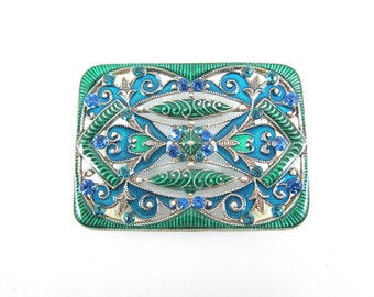 Large Vintage Catherine Popesco Blue And Green Enamel Filigree Designer Brooch-Made In France