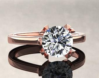 Moissanite Engagement Ring Moissanite Ring 14k or 18k Rose Gold Matching Wedding Band Available W17MOISR