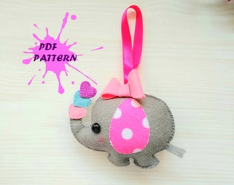 PDF Pattern - Elephant Baby Girl, Animal Ornament Pattern, Felt Softie Sewing Pattern, Felt Elephant Ornament, Felt elephant pattern,