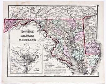 1873 Maryland Delaware Map Washington DC Chesapeake Bay Virginia ORIGINAL RARE