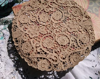1930's Beige Venetian Art Lace Victorian Handmade Antique French Cotton Lace Doily Table Center Floral Doily #sophieladydeparis