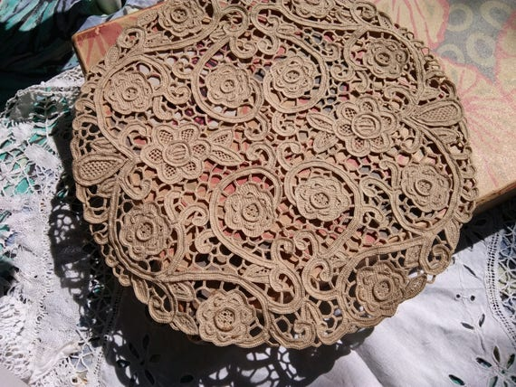 1930's Beige Venetian Art Lace Victorian Handmade Antique French Cotton Lace Doily Table Center Floral Doily #sophieladydeparis
