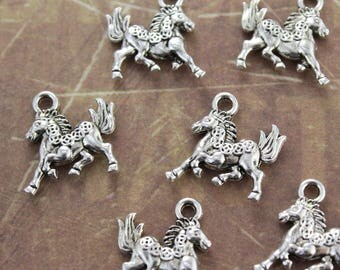 10 Running Horse Charms Horse Pendants Antiqued Silver Tone  3D 15 x 15 mm