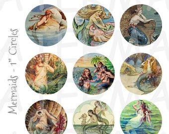 SALE- Vintage Mermaid Art - 4 x 6 Digital Collage Sheet  - 1 inch Round Circles - INSTANT DOWNLOAD