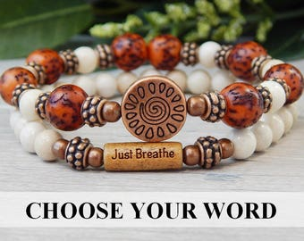 CHOOSE WORD, Just Breathe Bracelet, Yoga Bracelet, Nature Bracelet, Everyday Bracelet, Unique Bracelet, Boho Bracelet, Boho Chic Jewelry