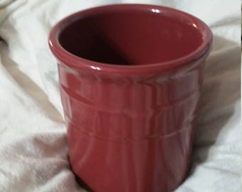 On Sale Longaberger Pottery Basket Weave Solid Color  Maroon Red Crock Kitchen Utensil Holder Made in the USA