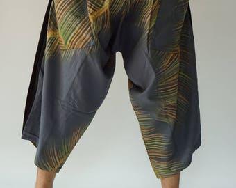 HC0563 samurai pants Handmade pants, Thick Smock Waist Low Crotch, unisex Yoga Harem Pants  - elastic waistband  - Fits all !