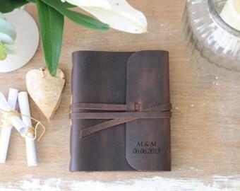 Leather bound wedding guestbook A5+ ( 21,5 x 18cm ), mariage,livre d or,main,célébration de mariage, lune de miel, livre d'or