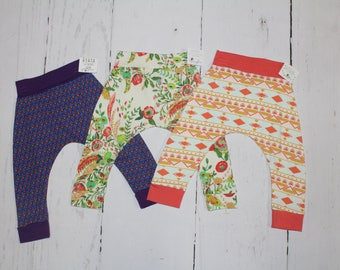 12-18 Month Harem Pants, Baby and Kids Harem Pant Leggings, Hearts, Floral, Geometric Peach