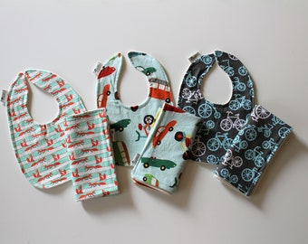 Boys Baby Bib and Burp Cloth Set, Newborn Gift, Baby Shower Gift, Organic Cotton
