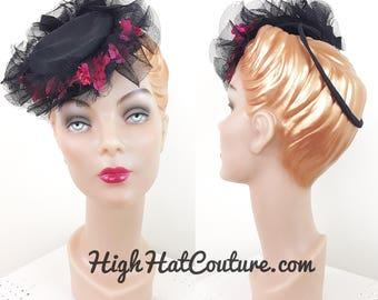 Vintage 1930s Hat / Tilt Hat / Horsehair ruffles / Pink Flowers / CUTE