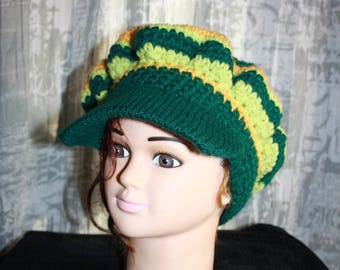 Hat, warm Pine Green, mustard and pistachio