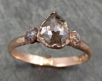 Faceted Fancy cut Champagne Diamond Engagement 14k Rose Gold Multi stone Wedding Ring Rough Diamond Ring byAngeline 0602