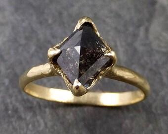 Fancy cut salt and pepper Diamond Solitaire Engagement 18k yellow Gold Wedding Ring Diamond Ring byAngeline 1048