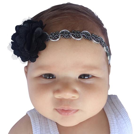 Flower Headband, Baby Headband, Black Headband, Black Flower Headband, Flower Girl Headband, Baby Headband, Newborn Headband
