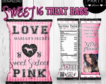 Sweet Sixteen 16 PINK Victoria's Secret Theme Personalized Treat Popcorn Bags Victoria Favors Bridal Shower Quince 18 21 Birthday 30 13 15