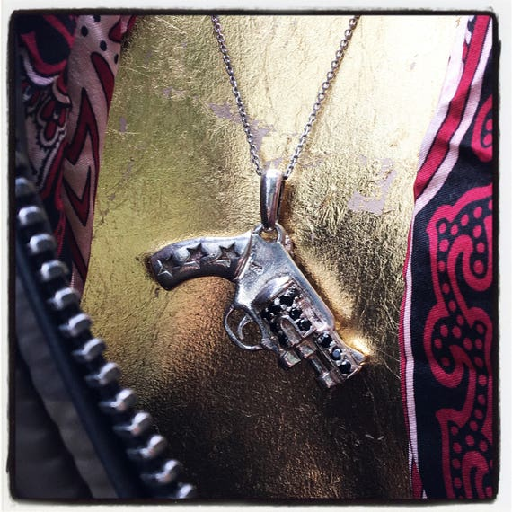 Etherial Jewelry - Rock Chic Talisman Luxury Biker Custom Handmade Artisan Pure Sterling Silver .925 Revolver Gun Pistol Badass Pendant