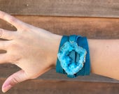 Teal Large Druzy Faux Wrap Cuff - Leather Geode Cuff -Boho Druzy Bracelet