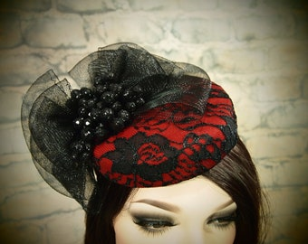 Red Wool Pillbox Cocktail Hat