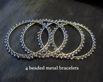 Wire stacking bangles, metal bangle blue beads, bracelet set of 4