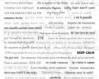Planche de mots autocollants Vacances NON PRÉDÉCOUPÉS
