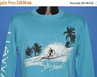 ON SALE 80s Ski Hawaii Palm Trees Long Sleeve t-shirt Medium