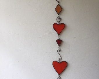 RED and Orange HEARTS MOBILE Wall Hanging