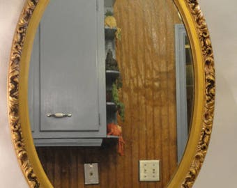 Vintage/Antique Wood Gilded Framed Oval Mirror Hollywood Regency Baroque Mirror