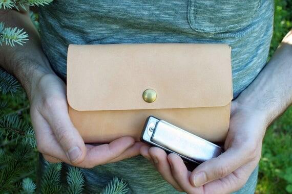 Hebden Leather Harmonica Case for 4 harmonicas