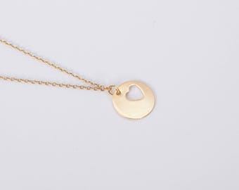 Golden Necklace  Heart Love Chain Hearts Gold Plated Disc Coin Necklace