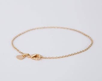 Bracelet Gold Heart Love Chain Plated Hearts Gold Plated Disc Coin