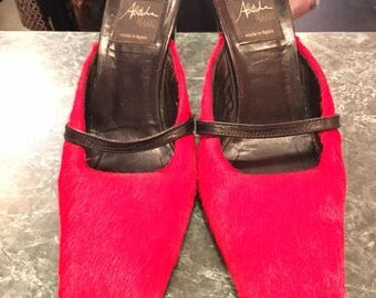 Red Fur Slip on 90s