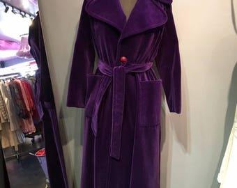 Purple Velour Maxi Coat