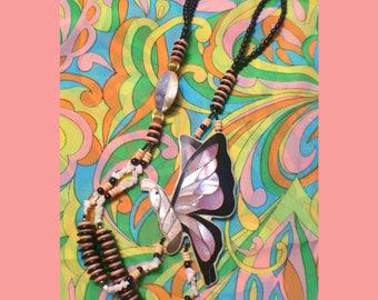 60s/70s groovy psychedelic hippie seashell butterfly necklace