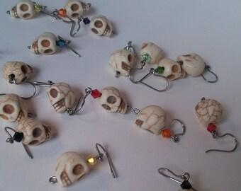 Skull and Crystal Earrings