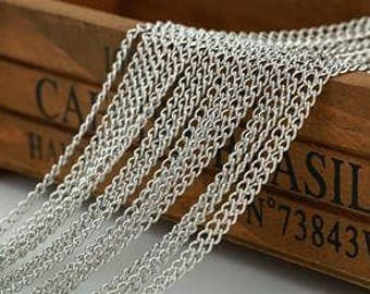 2 Feet Chains Jewelry Supplies Chain Silver Plated Metal Chains L120041 1.7 X 2 mm Thick 0.5 mm (24 Gauge)