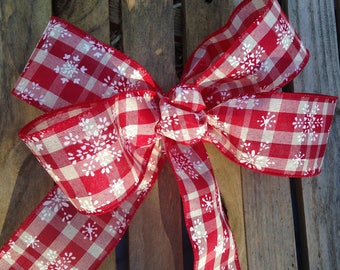 snowflake red white ginham gift bow, wreath bow package decoration, buffet table decor wired ribbon