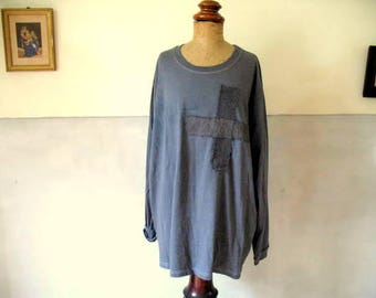 Vintage, French long sleeved t-shirt, dyed faded indigo, embellished with antique linen, hand stitched, 45 euro no. 3