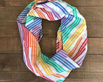 Rainbow Stripes Dots Infinity Scarf, Rainbow Infinity Scarf, Rainbow Scarf, Upcycled Sheets