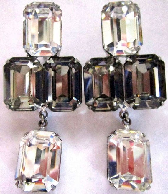 Gorgeous Marie Ferra Smoke & Ice Glass Square Cut Rhinestone Vintage Clip on Earrings