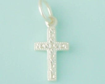 1 Sterling Silver Cross Charm, Stamped Design, Double Sided, Made in USA