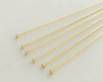 "20 Gold Filled Head Pins 2"" Flat End 24 Gauge"