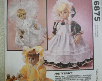 McCall 6875 Pretty Baby doll clothes for 3 size dolls